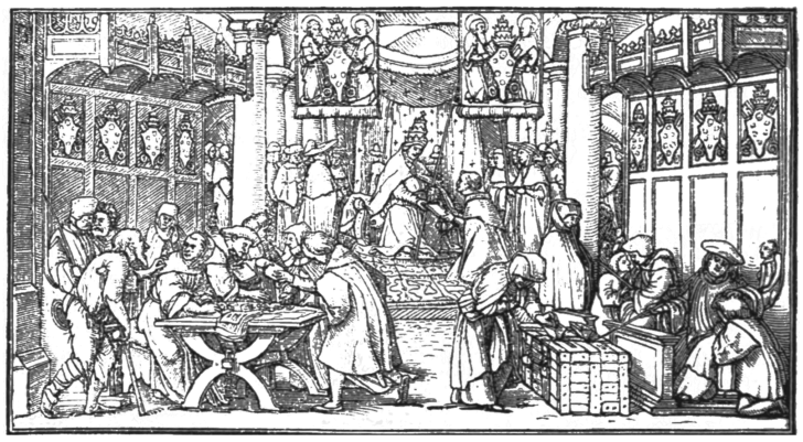 SMO_V12_D084_Facsimile_of_Holbein's_satire_on_the_sale_of_indulgences